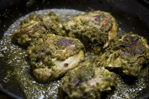 Fried Chicken With Green Masala