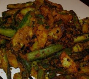 Crispy Fried Bhindi And Aloo In Masala